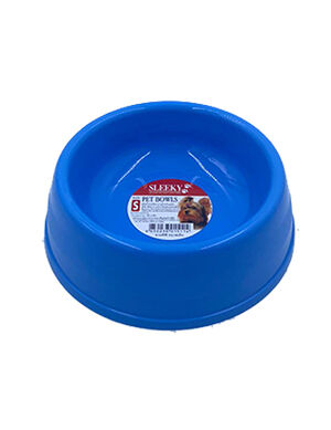 Sleeky Blue Plastic Pet Bowl Medium