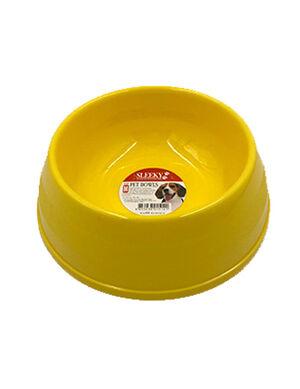 Sleeky Yellow Plastic Pet Bowl Small