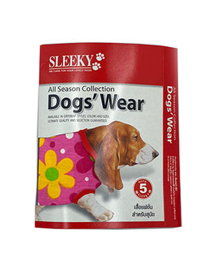 Sleeky Red with Flower Dogs Wear Size 5