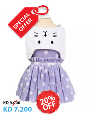 20% Blue & White Cat Face Dress Large