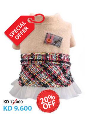20% Beige & Mixed Woolen Dress X-Large