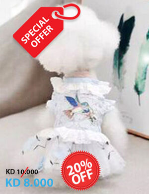 20% Blue & White Bird Dress X-Small -  Dogs product