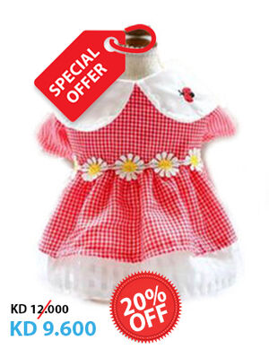 20% Red & White Lady Bird Dress Large -  Dogs product