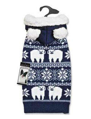 PetEdge ZZ Elements Polar Bear Hood Sweater Small Blue
