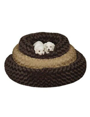 PetEdge SP Swirl Plush Donut Bed 32In Oatmeal