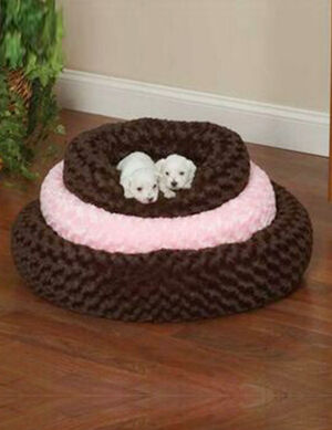 PetEdge SP Swirl Plush Donut Bed 32In  Brown