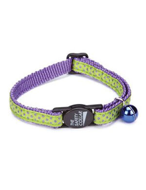 PetEdge ST Nylon w/Ribbon Collar 8-12 Inches Purple Dot