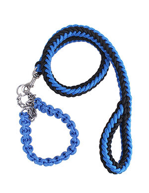 Blue/Black Rope Dog Leash & Collar Small