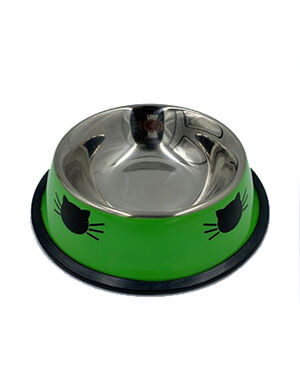 Animall Stainless Steel Cat Food Bowl Green