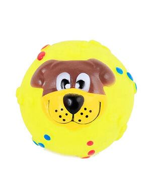 Squeaky Ball Smile Dog Toy Yellow