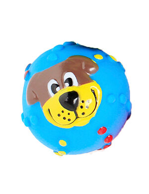 Squeaky Ball Smile Dog Toy Blue