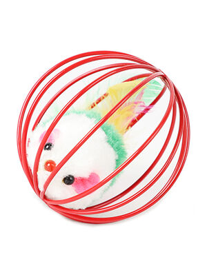 Cage Cat Toy Mice Red
