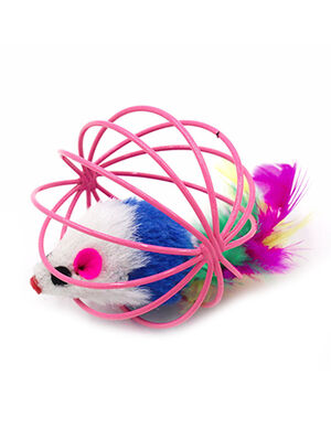 Cage Cat Toy Mice Pink
