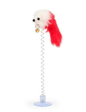 Red Feathers Funny Cat Mouse with Bell Shape Mouse