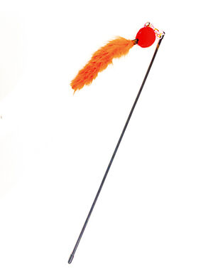 Long Feather Cat Toy Teaser Stick Orange/Red