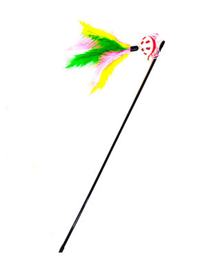 Colorful Feather Cat Toy Teaser Stick with Bell and Ball -  Cats product