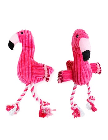Flamingo Plush Squeak Dog Toy Sound