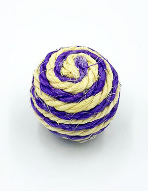 Sisal Rope Catch Cat Ball Yellow & Purple