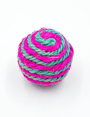 Sisal Rope Catch Cat Ball Green & Pink