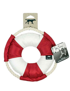 Tall Tails Lifebuoy with Squeaker Red & White