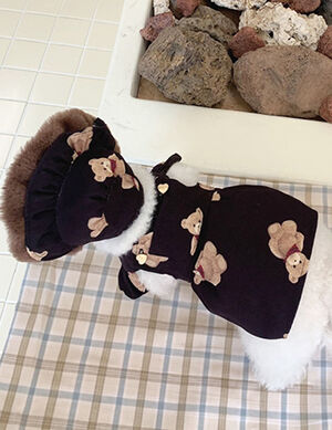 Black Teddy Bear Dress With Hat Small