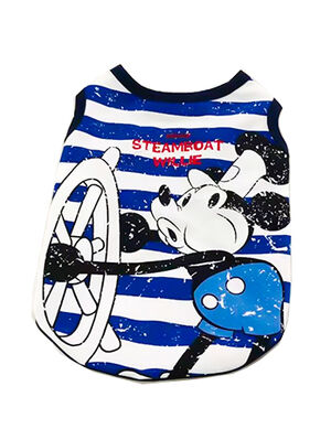 Pet Stylist Blue & White Mickey Mouse Sailor Vest Large