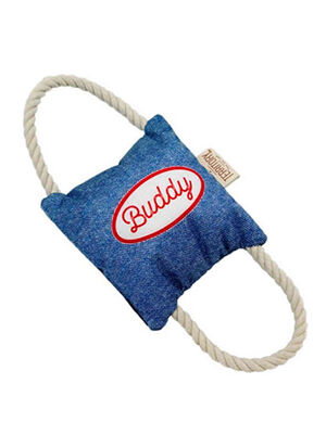 Territory 2-Way Tug Squeaker Buddy Denim Blue 28cm