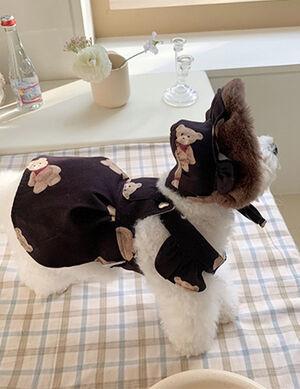Pet Stylist Black Teddy Bear Dress With Hat Large