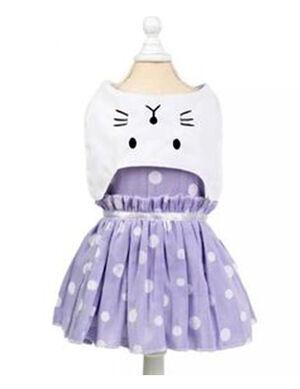 Blue & White Cat Face Dress X-Large