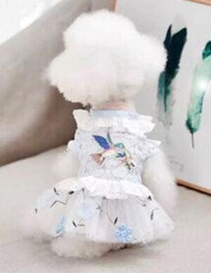 Blue & White Bird Dress Large