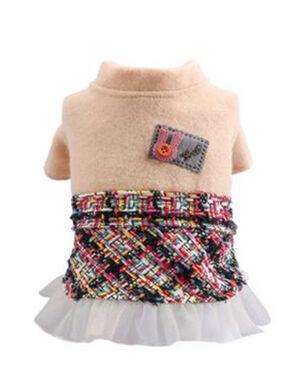 Beige & Mixed Woolen Dress Medium