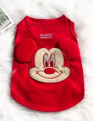 Mickey T-Shirt No Sleeve Red Medium