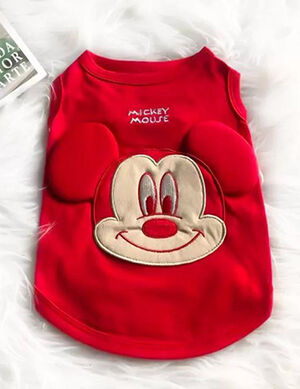 Mickey T-Shirt No Sleeve Red Large