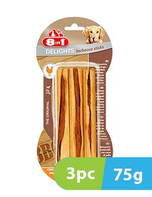 8in1 Delights BBQ 3 Sticks x 75g
