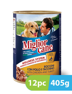 Migliorcane Chunks with Chicken and Turkey 12pc x 405g