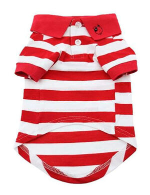 Doggie Design Striped Dog Polo Flame Scarlet Red & White Large