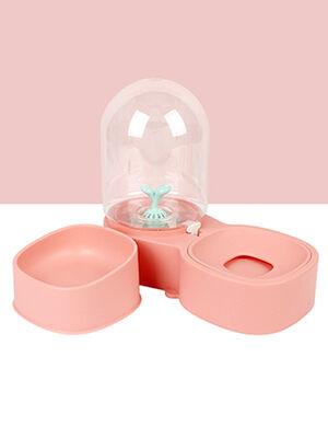 Water Dispenser & Dry Food Bowl  Pink 2L