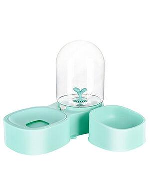 Water Dispenser & Dry Food Bowl Aqua Green 2L