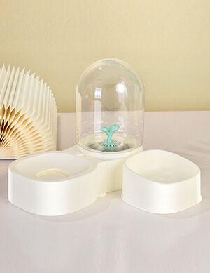 Water Dispenser & Dry Food Bowl White 2L
