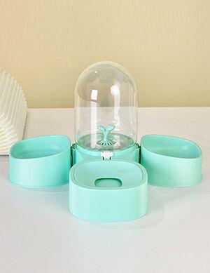 Water Dispenser & 2 Dry Food Bowl Aqua Green 2L