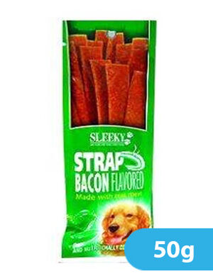 Sleeky Chewy Strap Bacon Flavored 50gm