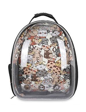 Backpack brown cat print 40*23*32cm