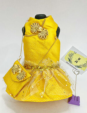 Early Eid Luxury Yellow Dress with Bag Small