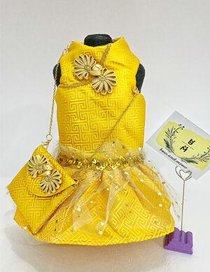 Early Eid Luxury Yellow Dress with Bag Medium