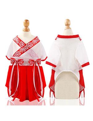 Hanfu Dress Red & White Large