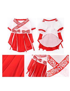 Hanfu Dress Red & White X-Large -  Dogs product