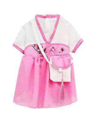 Hanfu Shiffon Pink & White Medium