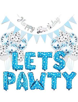 Blue Pet HBD Party Decoration (Let's Pawty) 16inch
