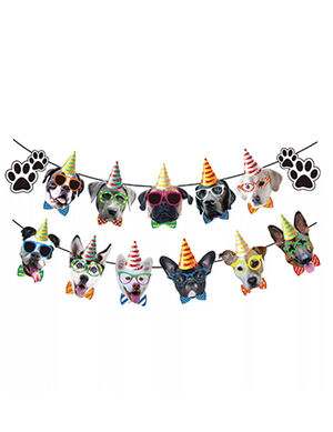 Colorful Dogs Faces Banner Party Decoration