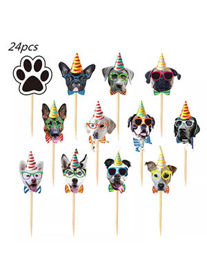 Colorful Dogs Faces Cake Tags Party Decoration